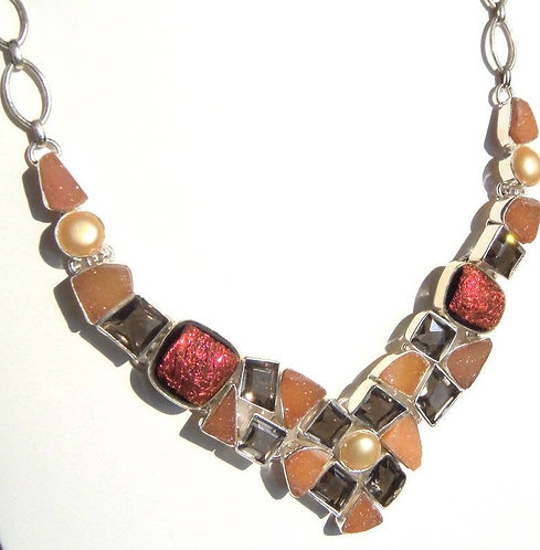 Chunky Sterling Silver Druzy Agate & Smoky Topaz BOHO Chic Necklace