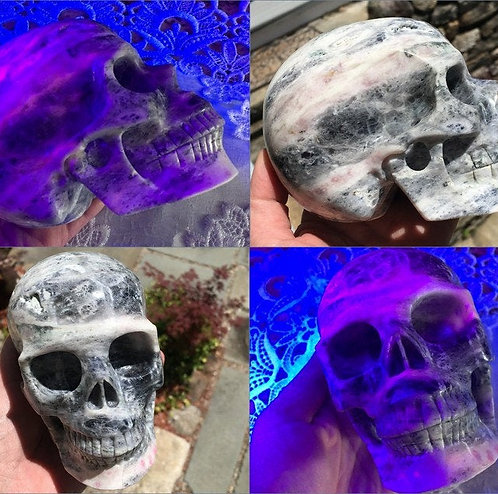 """5.1"""" Large Rare Activated Fluorescent Hackmanite Crystal Skull - Luck Energy"""