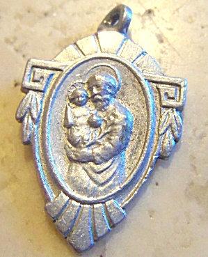 Vintage Art Deco St. Joseph Jesus Christ Child Medal Charm