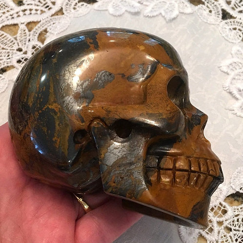 "4"" Large Hematite Tiger Eye Crystal Skull - Tiger Iron, Strong Earth Energy"