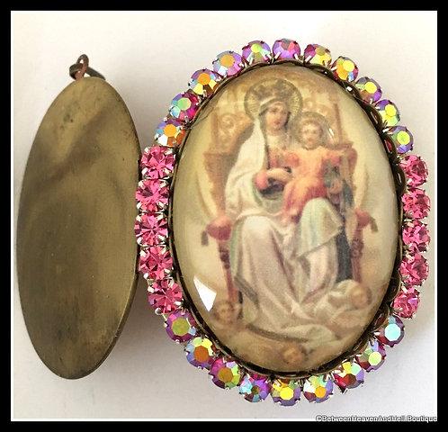Large Vintage Pink Rhinestone Prayer Locket Madonna and Child Jesus Pendant