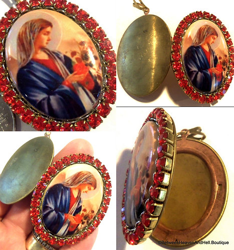 Religious Gifts, Porcelain Cameo Locket Mother Mary Red Rhinestone Pendant