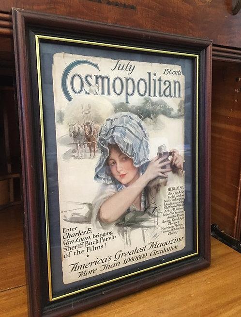 Vintage Framed Cosmopolitan Magazine Art Cover Harrison Fisher Farm Artwork