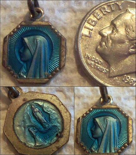 Antique French Holy Medal Deco Our Lady of Lourdes Enamel Charm St Bernadette