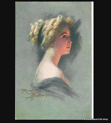 1911 Vintage Artist Signed Postcard Rudolph Fuchs Glamour Lady