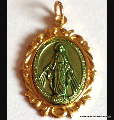 Large Vintage German Miraculous Medal Virgin Mary Pendant, Religious Jewelry
