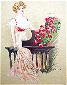 Maud Stumm Antique Print Stone Lithograph Lady At Piano