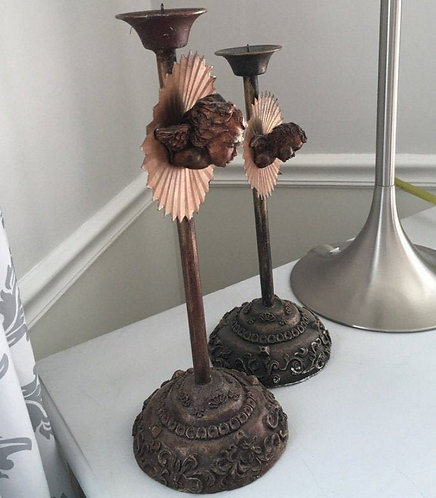 Pair of Old Copper Angel Candle Sticks Taper Candle Holders Shabby cottage Decor
