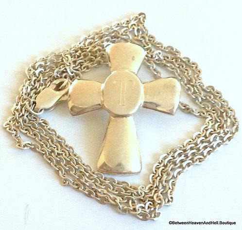 Vintage Elegant Sterling Silver Engraved T Initial Cross Necklace