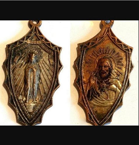 Vintage Catholic Holy Medal Latin To Jesus Through Virgin Mary Religious jewelry