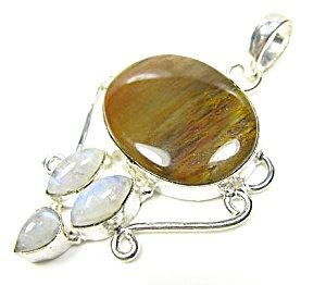 Jasper, Moonstone Pendant:sterling Silver Gemstone Jewelry