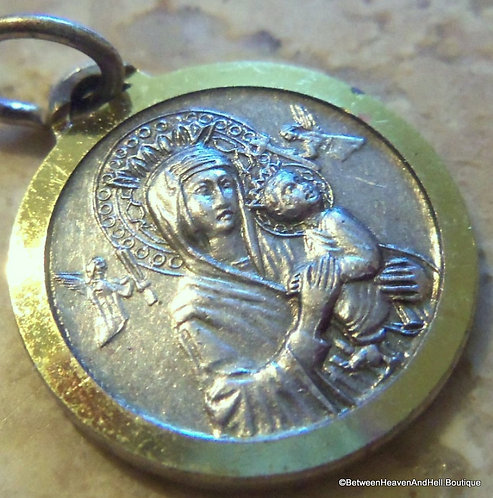 Religious Jewelry, Vintage Our Lady Of Perpetual Help Medal Virgin Mary Pendant