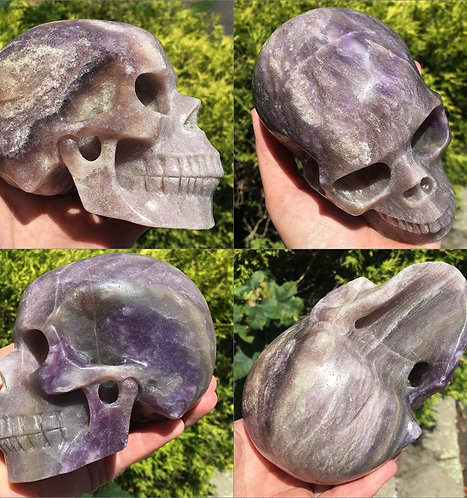 "5.2"" Opalized Fluorite Crystal Skull Ascended Masters Spirit Guide Communication"