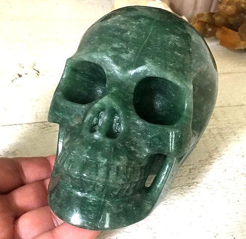 "5.1"" Large Green Quartz Crystal Skull Activated Abundance Energy generator"