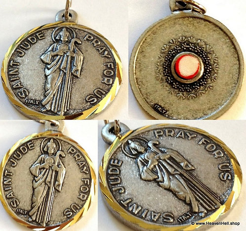 Large Mens Saint Jude Relic Medal Silver Gold Catholic Pendant Religious Jewelry