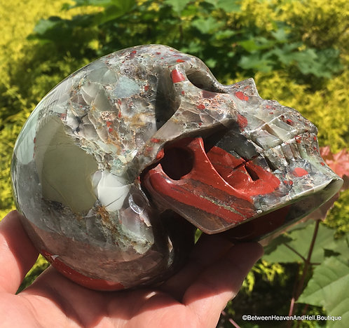 """5"""" Rare Large Activated Bloodstone Skull with PYRITE Green Jasper Red Jasper"""