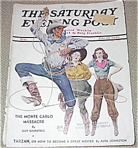 Cowboy Cowgirl Western Rodeo Saturday Evening Post Cover 7-29-39