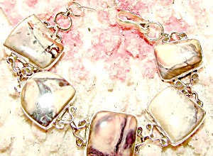 Chunky Wide Bracelets: Free Form Jasper Gemstone Bracelet