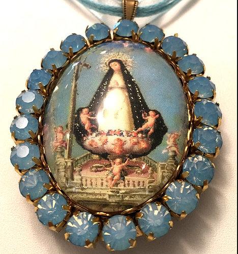Religious Jewelry Blue Opal Rhinestone Cameo Locket Virgin Mary Angels