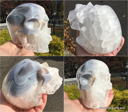 """5"""" Psychic Channeling Activated Crystal Skull Large Clear Quartz Skull Blue Onyx"""