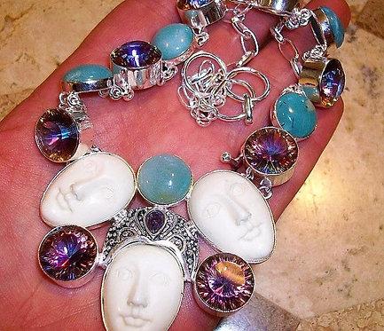 Sterling Silver Triple Goddess Necklace - Carved Blue Chalcedony & Mystic Topaz
