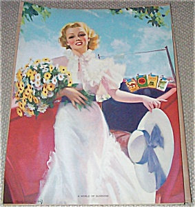 Glamour 1940's: Bradshaw Crandell Lady With Daisies Advertising PrintPoster
