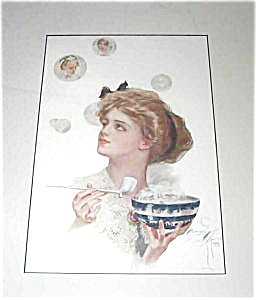 Harrison Fisher Print : Bubbles : Blonde Lady