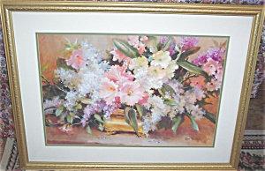 Large Framed Floral Print Pink Cream Purple Flowers