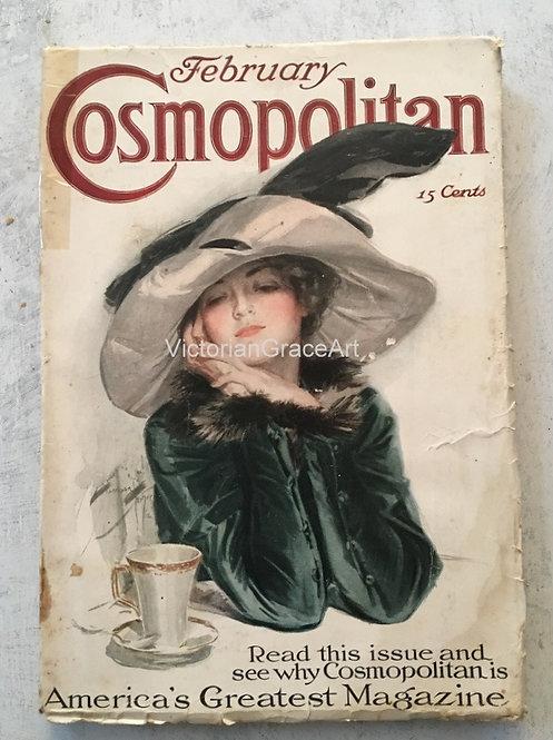 1913 Vintage Harrison Fisher Cosmopolitan Magazine Art Cover Tea Contentment