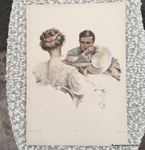 Original Vintage Harrison Fisher Print In Suspense, Afternoon Tea Romance Art