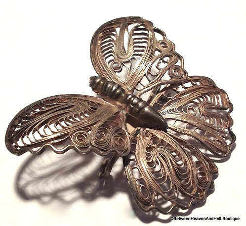 """1.75"""" Antique Victorian Filigree 900 Silver Butterfly Brooch Pin Rebirth Jewelry"""