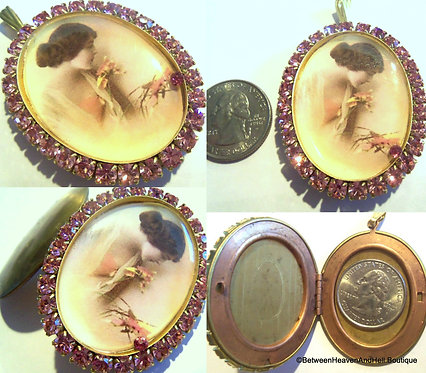 Vintage Pink Rhinestone Locket Edwardian Woman Cameo Pendant, Shabby Jewelry