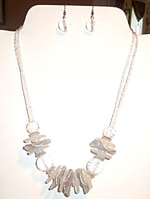 Chunky Beads Earrings White, Silver Clear Necklace