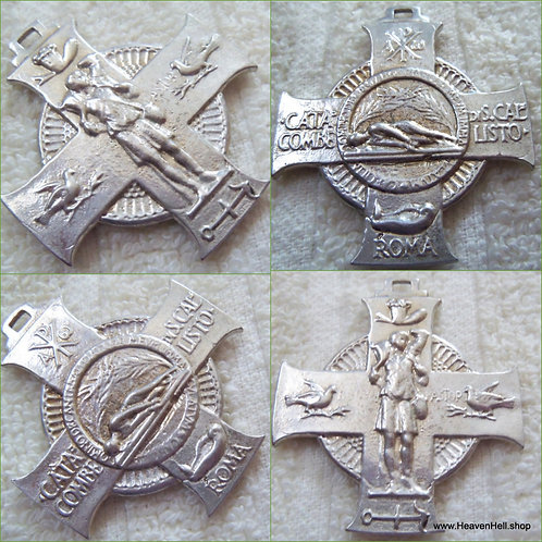 Vintage Holy Medal Saint Hubert Maltese Cross Pendant Men's Religious Jewelry