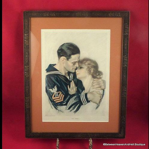 1918 Vintage Harrison Fisher Cosmopolitan Print My Hero Navy Sailor Romance Art