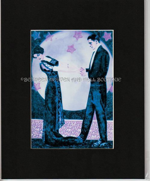 8x10 Full Moon Romance Print Midnight Moonlight Starlight Dance Art Deco Couple