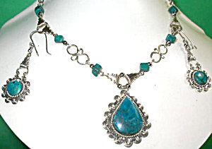 Drop Necklace Dangle Earrings Gemstone Set Chrysocolla
