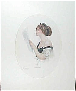 Harrison Fisher Print An Old Song: Victorian Lady Singing
