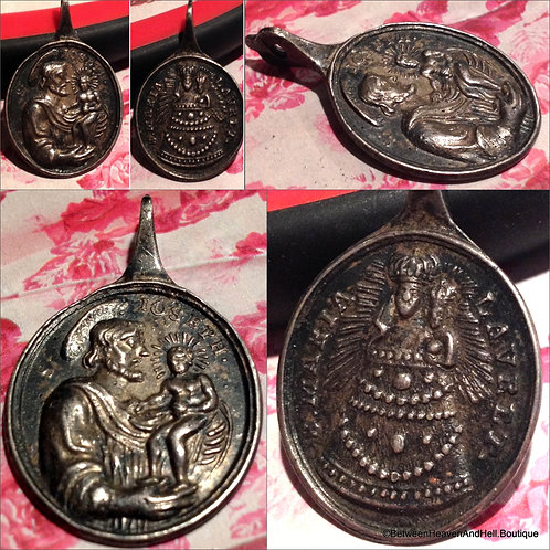 Rare Antique Catholic Medal Saint Joseph Sterling Silver Virgin Mary of Loreto