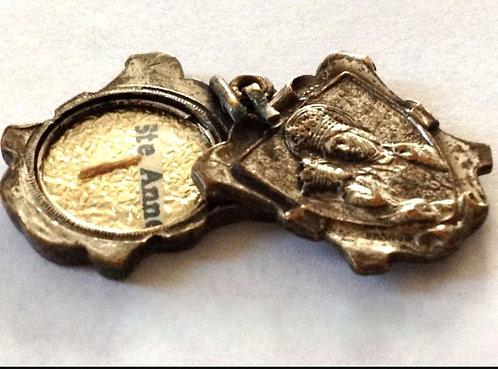 Vintage French Relic Medal Saint Anne Virgin Mary Holy Slide Pendant