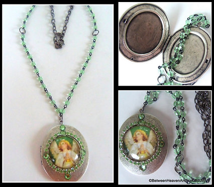 Vintage Angel Prayer Locket Cameo Rhinestone Necklace Glass Beads