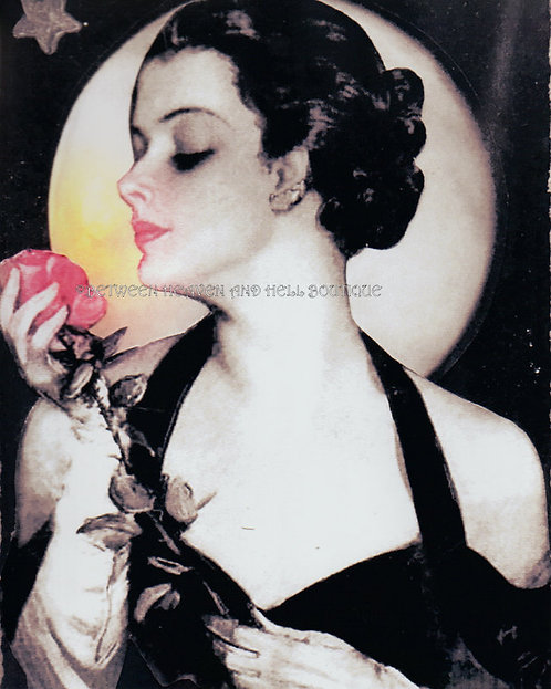 8x10 Full Moon Art Print Sexy Deco Woman Pink Rose Midnight Moonlight Love Spell