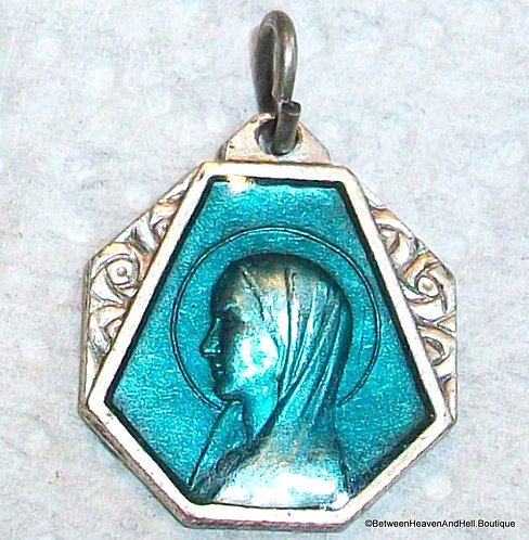 Religious Jewelry, Antique Art Deco Enamel Medal Mother Mary Lourdes Pendant