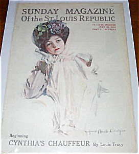 Prints, Magazines Howard Chandler Christy Victorian Lady Flower Hat