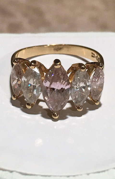 Vintage 10k Pyramid Style Ring Pink Ice & Clear Marquise Cut CZ stones Size 7.25