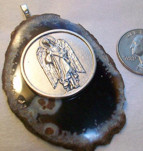 Archangel Jewelry: Large St. Rapheal Healing Angel On Agate Slice Pendant