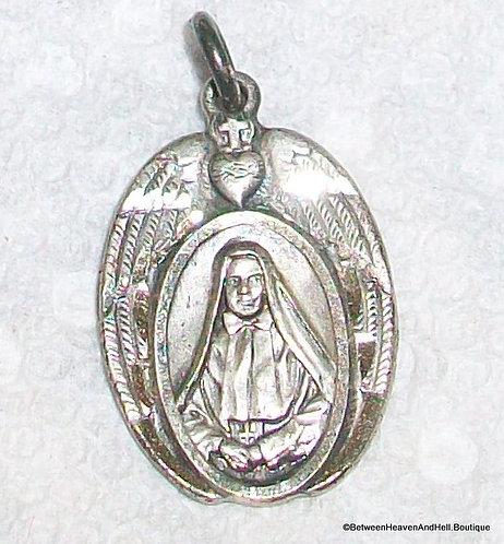 Art Deco Vintage Sterling Silver Medal St. Xavier Cabrini Saint Pendant