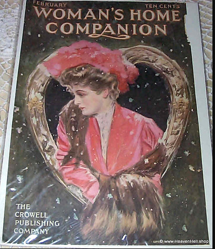 1906 Vintage Woman's Home Companion Magazine Cover Art Valentines Day Henry Hutt