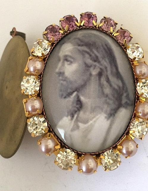 Vintage Jesus Christ Prayer Locket Rhinestone Cameo Pendant - Bereavement Gift