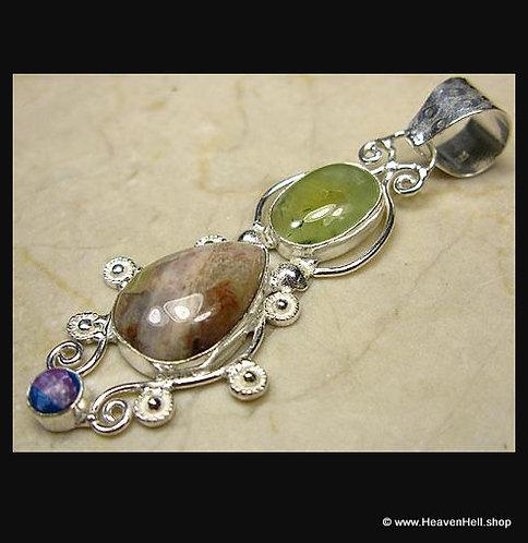 Nurturing Jasper & Prehnite Sterling Multi-gem Pendant, Silver Jewelry